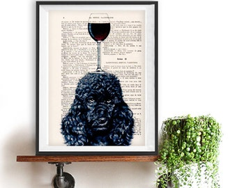 Black Poodle Print, Poodle with wine glass, French design, black and white,bulldog poster Art Print on recycled french book page
