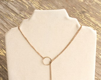 Minimalist Lariat Necklace - Upcycled Necklace, Aromatherapy Jewelry, Gold Lariat Necklace, Girlfriend Gift, Gift for Mom, Best Friend Gift
