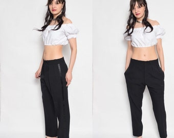 Vintage 80's Black Classic Tuxedo Pants / Black Pants With Side Ribbons / Boyfriend Black Pants / Black Cropped Pants