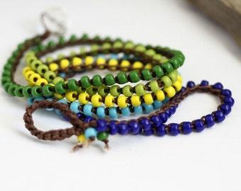 Crochet 5X Wrap Bracelet, Long Necklace, Green, Lime, Cobalt Blue, Light Blue, Yellow, Bohemian Jewelry, Beaded Bracelet, Crochet Jewelry