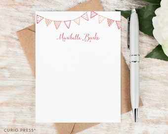 Personalized Stationery Set / Personalized Stationary Note Cards / Flat Notecards / Pink Custom Girls Flag Thank You Notes // BUNTING