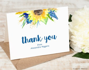 Personalized Sunflower Thank You Card Set  / Folded Personalized Notecards / Stationery / Stationary Notes / Watercolor Notes //  SUNFLOWER