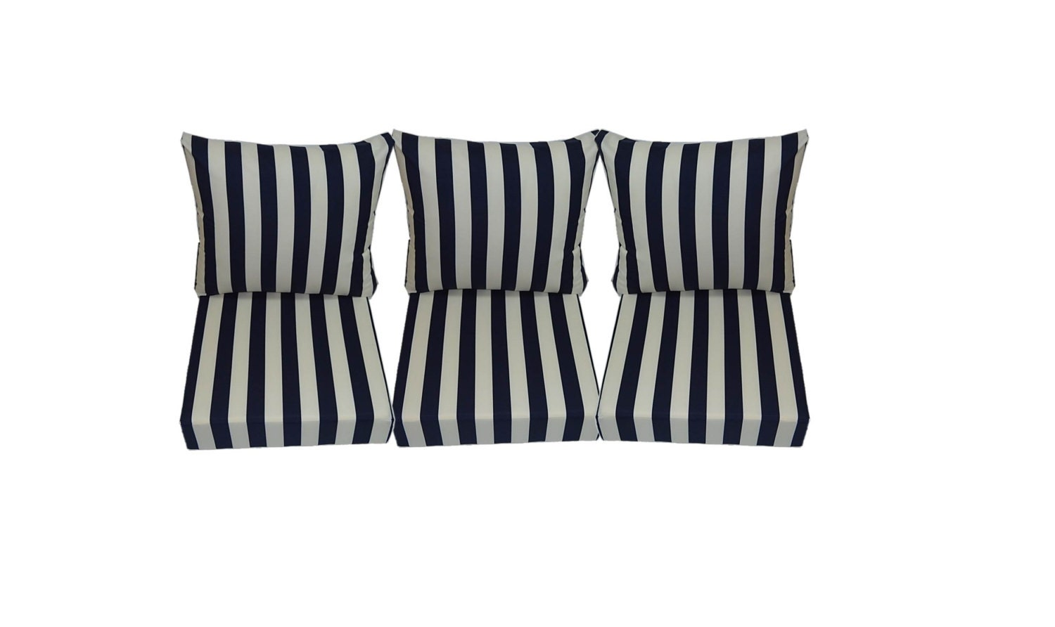 Navy Blue and Ivory Stripe Cushions for Patio Outdoor Deep