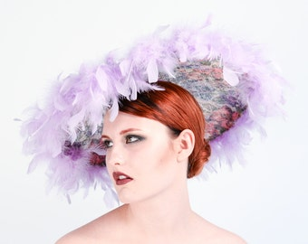 Saucer wedding hat with ostrich trim