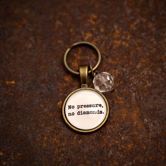FREE SHIPPING - No Pressure No Diamonds - Quote Necklace - Jewerly - Inspiration Necklace - Quote Jewelry - Quote Necklace