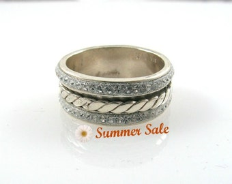 Sterling silver braided spinner ring with swarovsky crystals. birthday gift for her, spinner ring, silver spinner ring,(sr10126-1951-1952)