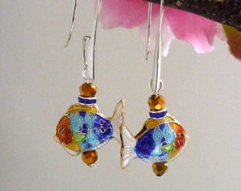 cleariance earring; cloisonne earring,boucles d'oreilles asiatiques, chinese earring,  ,,poisson boucles d'oreilles, ethnic earring