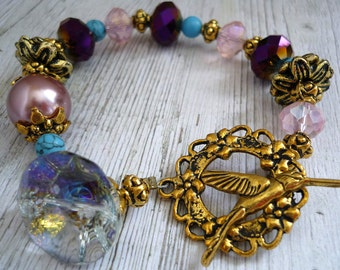 Vintage inspired downton abbey bracelet, toggle bird clasp, for a great gastby style for unique art bracelet, boho bohemian bracelet