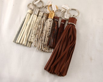 Leather TASSEL keychain, bag charm, fringe, bridesmaid gift // yellow, beige, brown (Italian calf leather) - FREE SHIPPING, unique