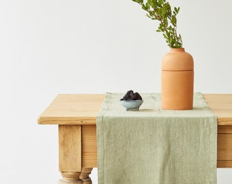 Sage Washed Linen Runner