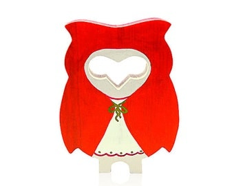Le Petit Chaperon Rouge wood handmade owl / Handmade wooden owl figurine for home decor.