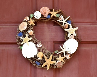 Beach Decor- Nautical Door Wreath- Seashell and Starfish Wreath - Shell Wreath - Coastal Home Decor - Nautical Decor - Seashells