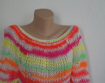 Valentine day sale Neon multi color loose knit sweater / knit neon jumper / lace knit colorful jumper / loose knit neon multicolor sweater ,