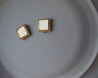 Vintage mirrored two-tone clip earrings