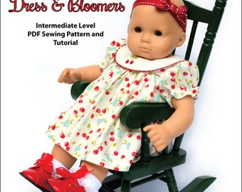 Pixie Faire My Angie Girl Round Collar Dress and Bloomers Doll Clothes Pattern for 15 inch Bitty Baby Dolls - PDF