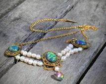 Renaissance Pearl Faux Opal Necklace