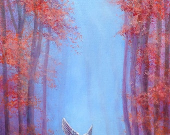 Angel in the Mist //  Original  Painting // Angel Art