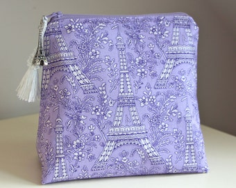 Eiffel Tower Lilac Makeup Bag Cosmetic Bag