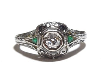European Cut Diamond Engagement Ring in 18K White Gold with Emeralds