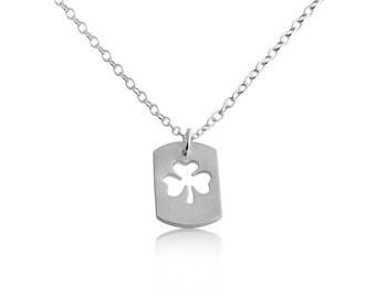 3 Leaf Clover Shamrock Symbol of Ireland Irish St. Patrick's Lucky Dog Tag Charm Pendant Necklace #925 Sterling Silver #Azaggi N0694S