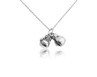 3D Boxing Gloves Pendant Necklace #925 Sterling Silver #Azaggi N0707S