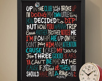 Beyonce - Single Ladies Poster, Song Lyrics Print, Music Poster, Song Lyrics