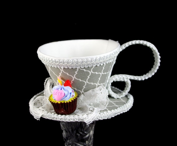 Gray and White Quatrefoil with Cupcake Tea Cup Fascinator Hat, Alice in Wonderland Mad Hatter Tea Party, Derby Hat