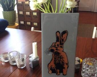 Brown Bunny, Rabbit, Wall Art, Stencil, Spray Paint