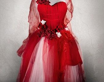 EERIE BRIDE dress, floor lenght wedding dress, halloween dress, corpse bride costume, red prom dress with corset
