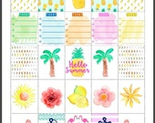 PRINTABLE Watercolor Erin Condren Planner Summer Tropical Stickers