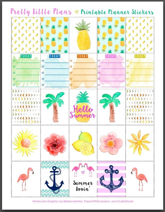 Items similar to PRINTABLE Watercolor Erin Condren Planner ...