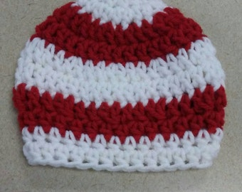 PDF Pattern, Crochet Baby Hat Pattern Only, Baby Photo Prop, Red and White Crochet Newborn Hat Pattern, Infant Hat Pattern, #P-NCS-16-825