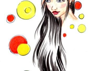 Woke Up Like This Art Print, Wall Art, Wall Hanging, Illustration Print, Gift for Her,Boutique Art Print,Pretty Girl Print, Messy Hair Print
