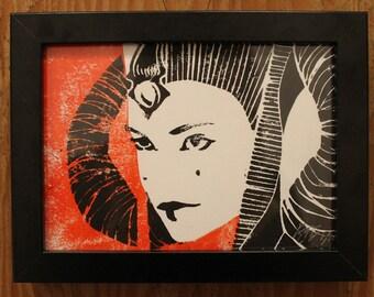 Star Wars Queen Amidala Hand Printed Lino Print