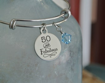 50th Birthday Bracelet, 50 and fablulous, 50th birthday gift, birthstone bracelet