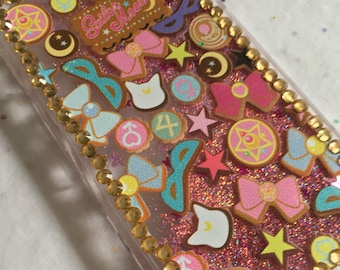 Sailor Moon Cookie Sailor Scout Liquid Glitter Waterfall iPhone Case with Rhinestones