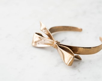 Ribbon Bracelet- Knotted Bow Cuff in Brass, Bronze, or Silver