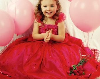 "Red/Pink ""Candy"" Princess Dress, Flower Girl Dress, Dress Up Costume"