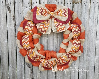 Orange Fall Wreath, Chevron Autumn Wreath, Burlap Wreath, Rustic Wreath, Burlap Fall Wreaths