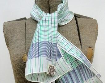 Vintage 1970s Silk Scarf NWT, 70s Echo Long NOS Blue Green White Unworn 11 X 46 Neckerchief, 1970 Preppy Silk Blend Oblong Scarf Deadstock