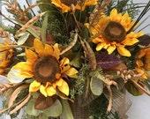 Large Fall Wreath, Sunflower Wreath, Fall Front Door Wreath, Fall Wall Basket,Rustic Wreath,  Housewarming Gift