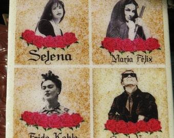 Selena y Maria Felix y Frida Kahlo y Chavela Vargas tile / Coaster by Very That