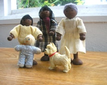 Vintage collectible doll house dolls doll family mom girl child doll dog grandma granny wooden pipe cleaner legs black African American