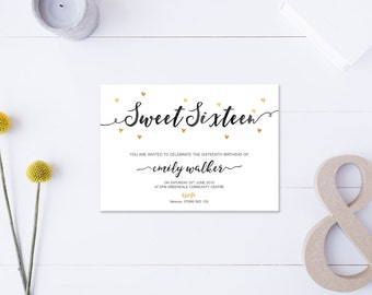 Sweet Sixteen // Invitation // Metallic Gold & Black // DIY Printable File // Digital PDF File
