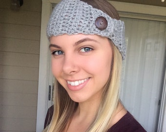 Button up Crochet Earwarmer, crochet head band
