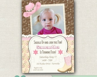 Cowgirl Birthday Invitation - 1st Cowgirl Birthday Party - Thank you card