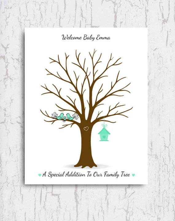 baby shower thumbprint tree guest book poster fingerprint tree