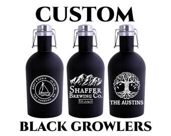 Custom Black Growler 64oz- Personalized Growler Engraved- Black Stainless Steel Growler