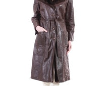 70's Vintage Brown Leather Coat Belted Faux Fur Almost Famous Penny Lane Boho Hippie Warm Winter Clothing Womens Size Medium