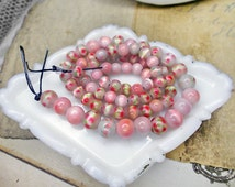 Pink Glass Beads | Full Strand plus | 75 Cat's Eye Iridescent Pink Beads | Abstract Floral | Mixed Sizes | 5mm - 8mm | 17 Inch Strand